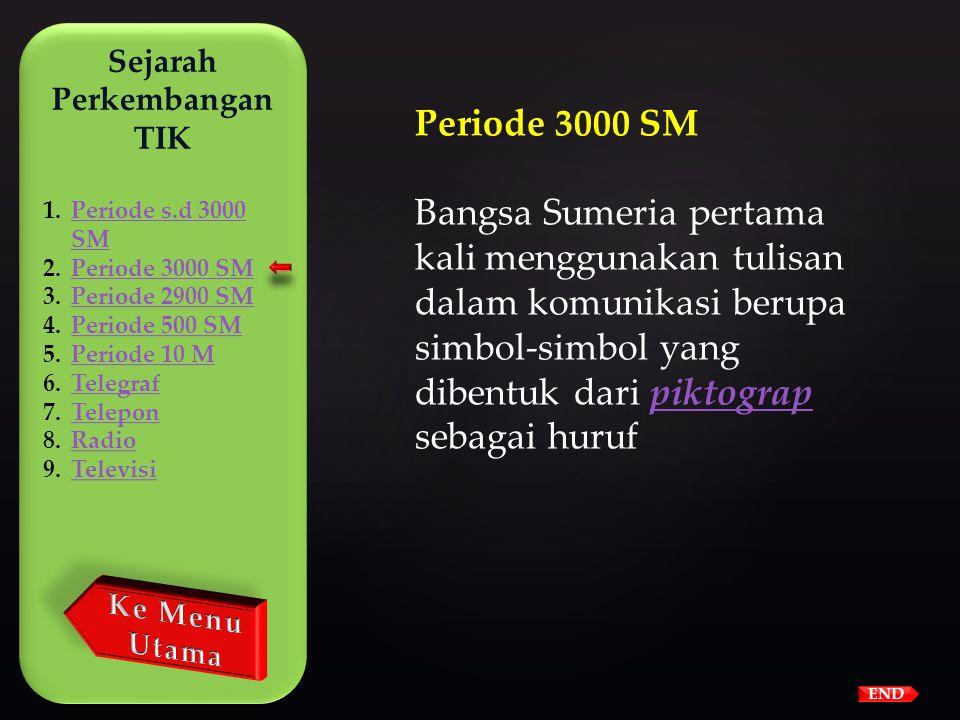 Sejarah Perkembangan TIK 1.Periode s.d 3000 SMPeriode s.d 3000 SM 2.Periode 3000 SMPeriode 3000 SM 3.Periode 2900 SMPeriode 2900 SM 4.Periode 500 SMPe