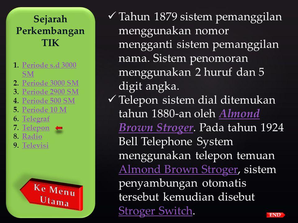 END  Layanan telepon komersial pertama dimulai di Amerika Serikat tahun 1877.  Tahun 1878 telepon menggunakan switch untuk menghubungi nomor-nomor l