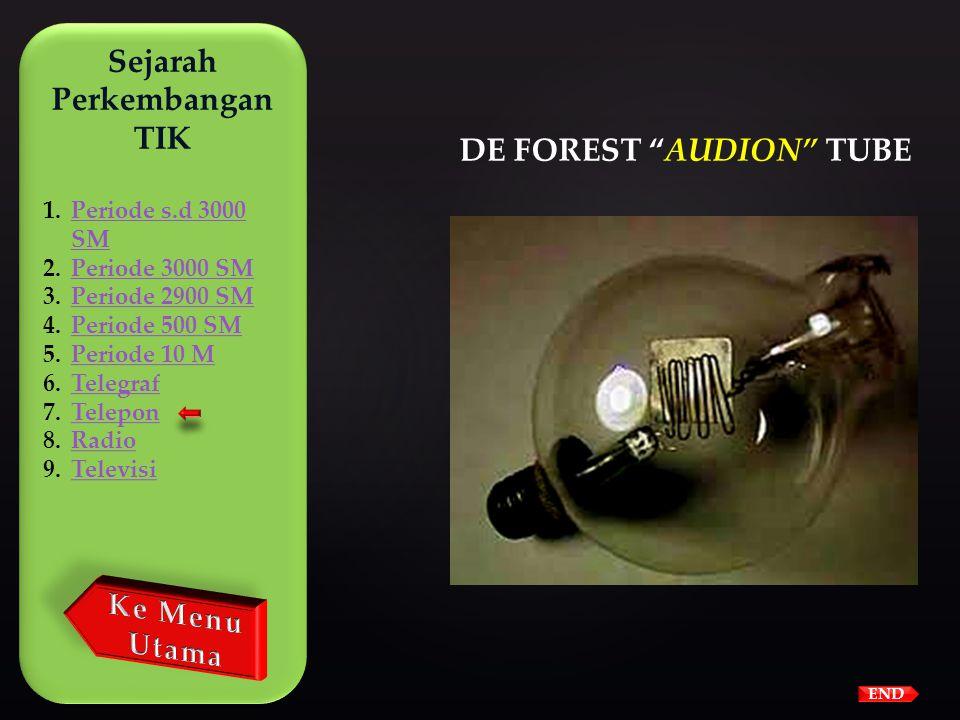 """END  Pada tahun 1906 Lee De Forest menemukan """"audion"""" yang dapat menguatkan gelombang suara.Lee De Forestaudion  Pada tahun 1913 Bell membeli hak pa"""