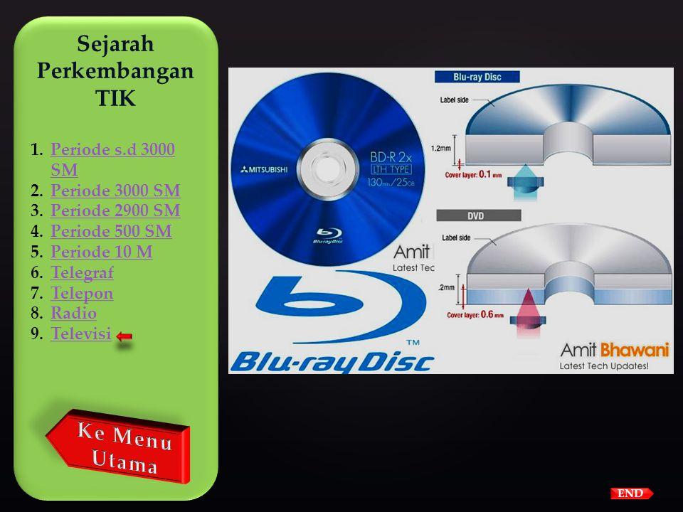 END  Pada tahun 2006 Blu-ray Disc dikenalkan, disc tersebut dapat menyimpan sampai 27 GB atau dapat menyimpan video kualitas tinggi 2 jam atau 13 jam