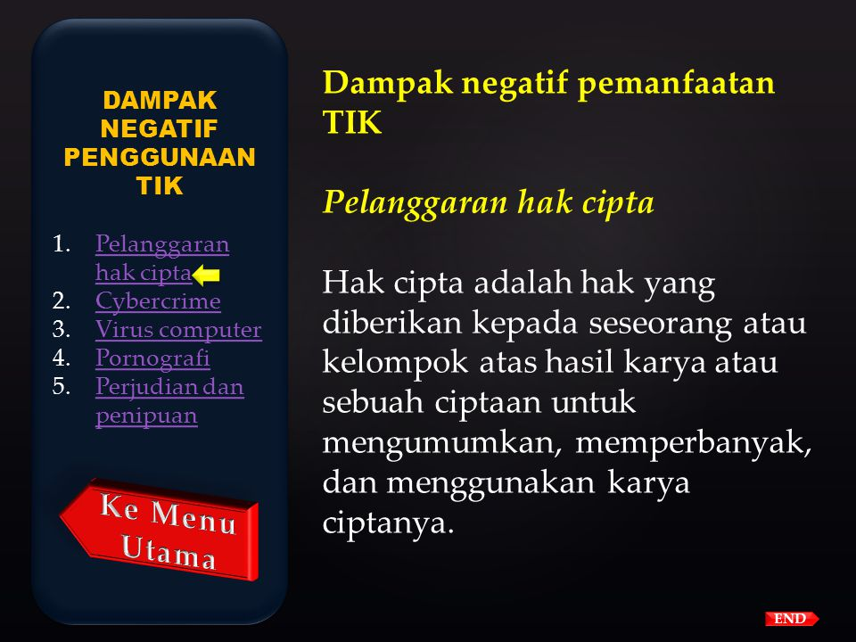 END PERANAN DAN DAMPAK PENGGUNAAN TIK 1.Pendidikan,Pendidikan, 2.BisnisBisnis 3.PemerintahanPemerintahan 4.SosialSosial PERANAN DAN DAMPAK PENGGUNAAN