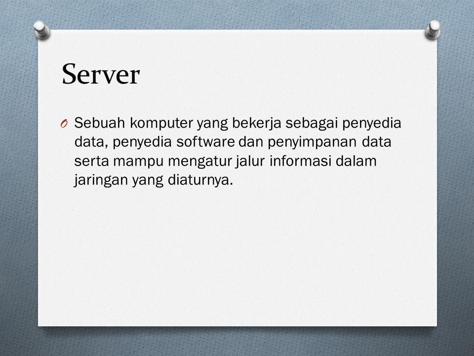 Server O Sebuah komputer yang bekerja sebagai penyedia data, penyedia software dan penyimpanan data serta mampu mengatur jalur informasi dalam jaringa