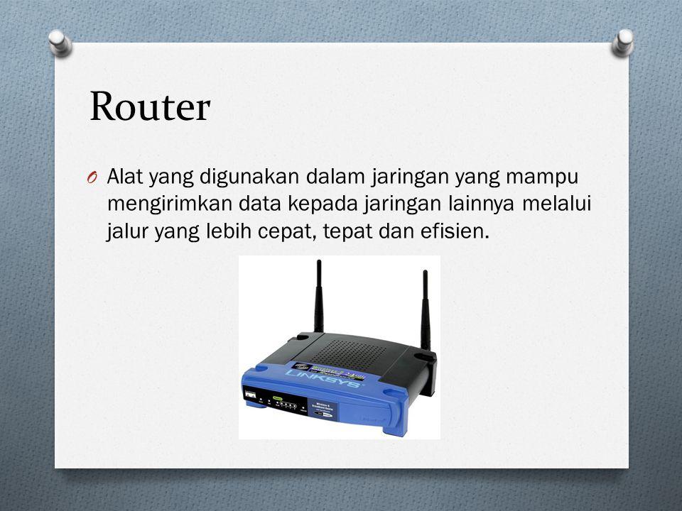 Router O Alat yang digunakan dalam jaringan yang mampu mengirimkan data kepada jaringan lainnya melalui jalur yang lebih cepat, tepat dan efisien.