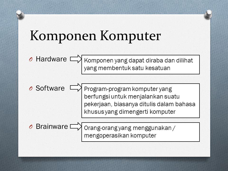Komponen Komputer O Hardware O Software O Brainware Komponen yang dapat diraba dan dilihat yang membentuk satu kesatuan Program-program komputer yang