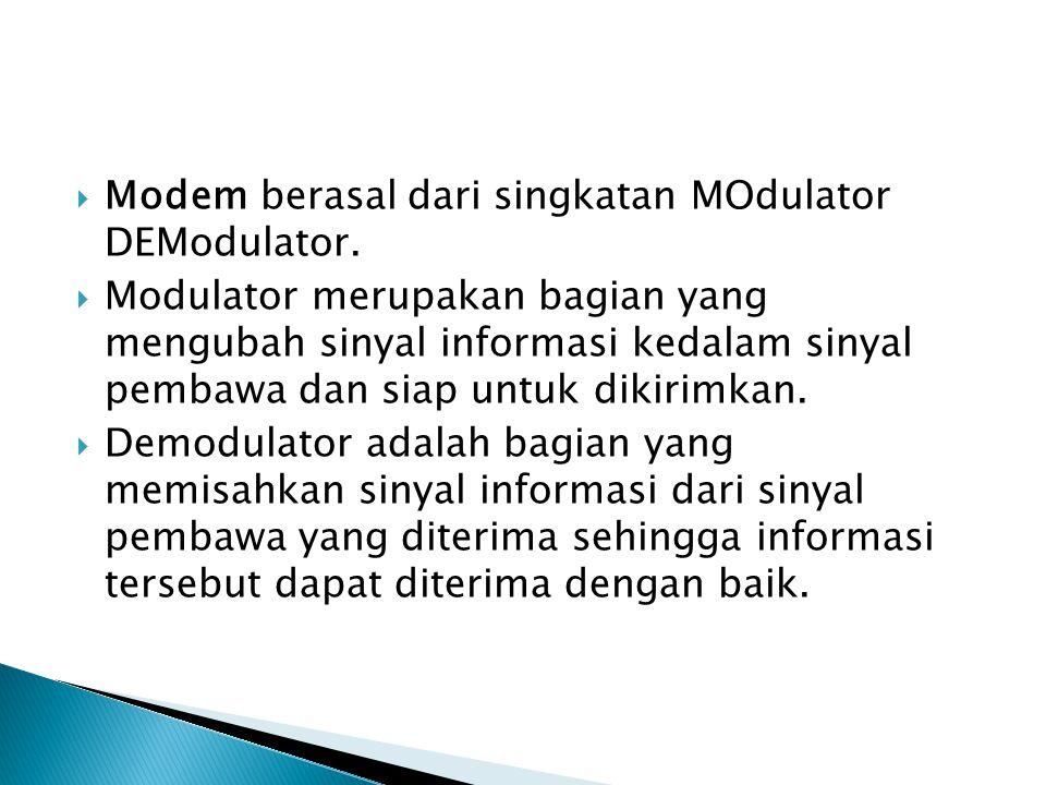  Secara singkatnya, modem merupakan alat untuk mengubah sinyal digital komputer menjadi sinyal analog dan sebaliknya.