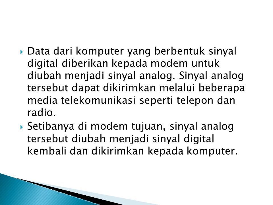  Data dari komputer yang berbentuk sinyal digital diberikan kepada modem untuk diubah menjadi sinyal analog.