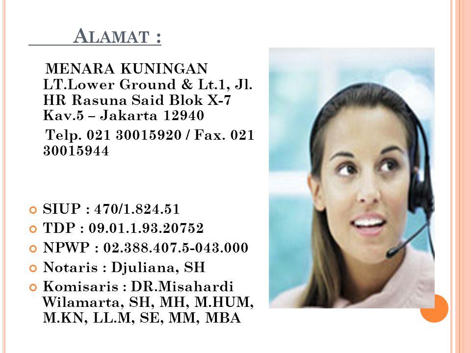 A LAMAT : MENARA KUNINGAN LT.Lower Ground & Lt.1, Jl. HR Rasuna Said Blok X-7 Kav.5 – Jakarta 12940 Telp. 021 30015920 / Fax. 021 30015944 SIUP : 470/