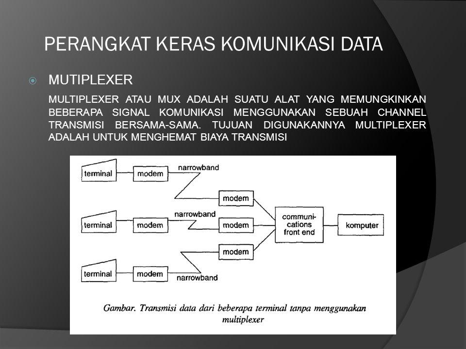 PERANGKAT KERAS KOMUNIKASI DATA  MUTIPLEXER MULTIPLEXER ATAU MUX ADALAH SUATU ALAT YANG MEMUNGKINKAN BEBERAPA SIGNAL KOMUNIKASI MENGGUNAKAN SEBUAH CH