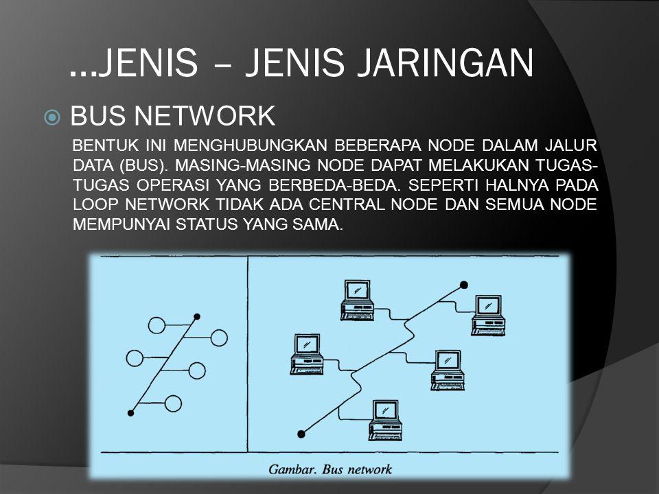…JENIS – JENIS JARINGAN  BUS NETWORK BENTUK INI MENGHUBUNGKAN BEBERAPA NODE DALAM JALUR DATA (BUS). MASING-MASING NODE DAPAT MELAKUKAN TUGAS- TUGAS O