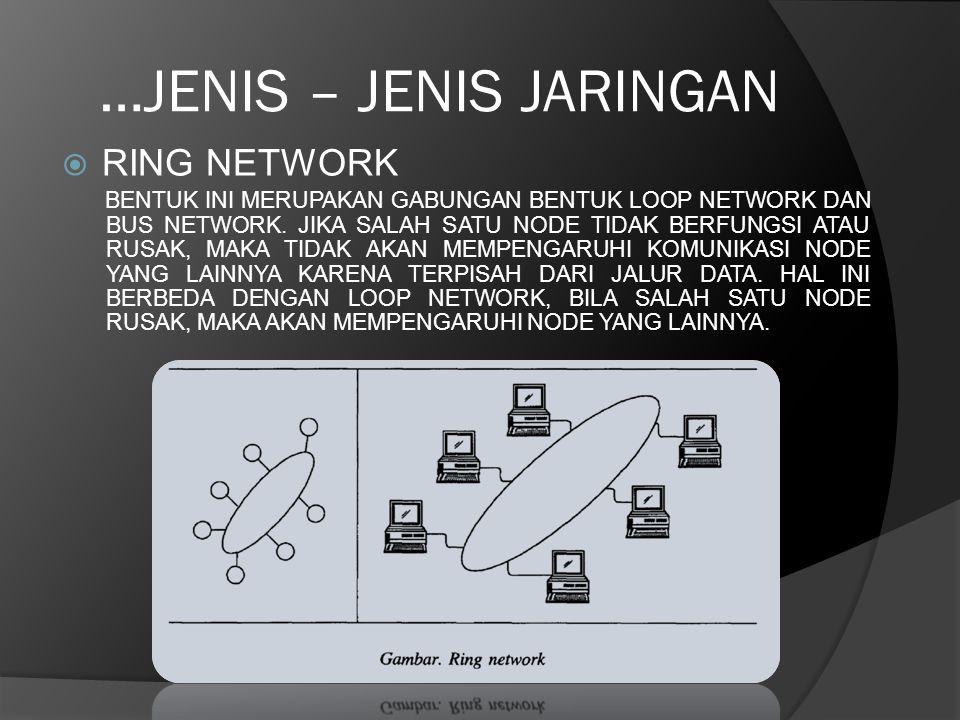 …JENIS – JENIS JARINGAN  RING NETWORK BENTUK INI MERUPAKAN GABUNGAN BENTUK LOOP NETWORK DAN BUS NETWORK. JIKA SALAH SATU NODE TIDAK BERFUNGSI ATAU RU