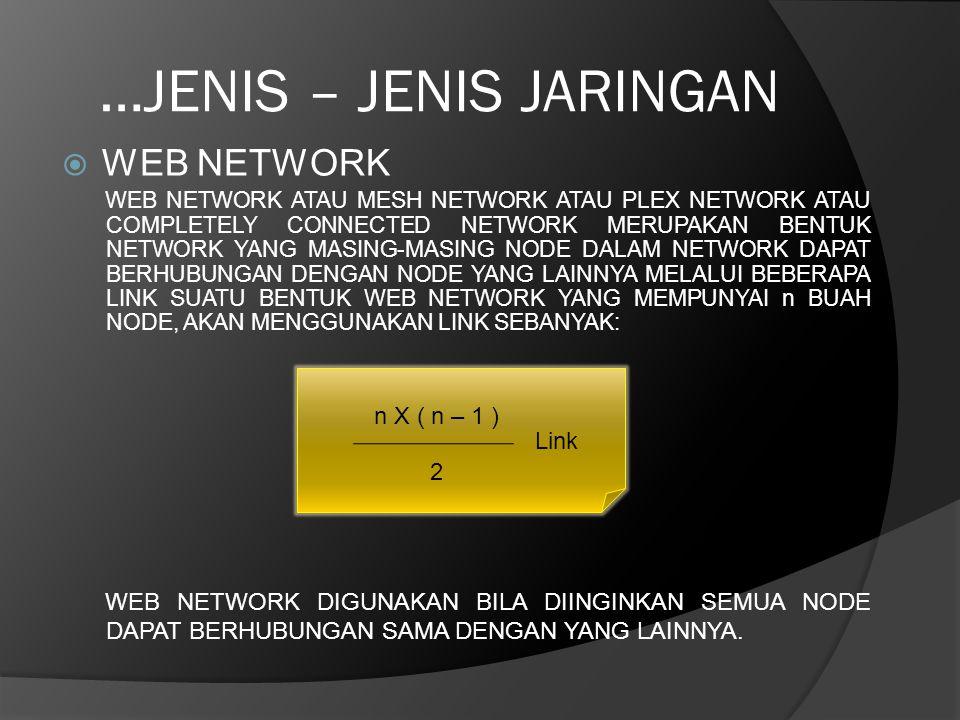…JENIS – JENIS JARINGAN  WEB NETWORK WEB NETWORK ATAU MESH NETWORK ATAU PLEX NETWORK ATAU COMPLETELY CONNECTED NETWORK MERUPAKAN BENTUK NETWORK YANG