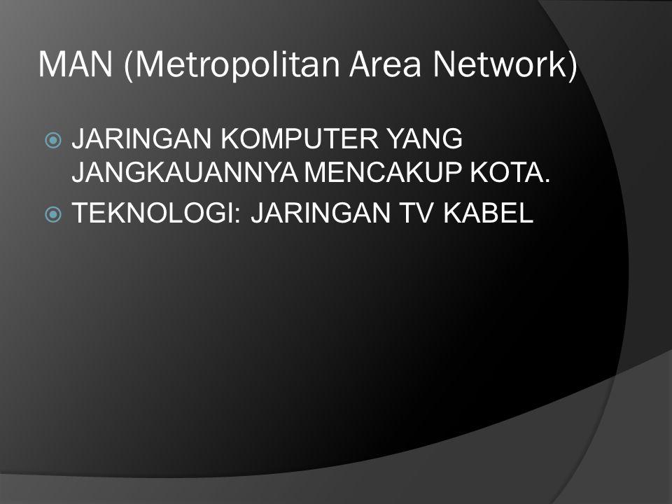 MAN (Metropolitan Area Network)  JARINGAN KOMPUTER YANG JANGKAUANNYA MENCAKUP KOTA.  TEKNOLOGI: JARINGAN TV KABEL