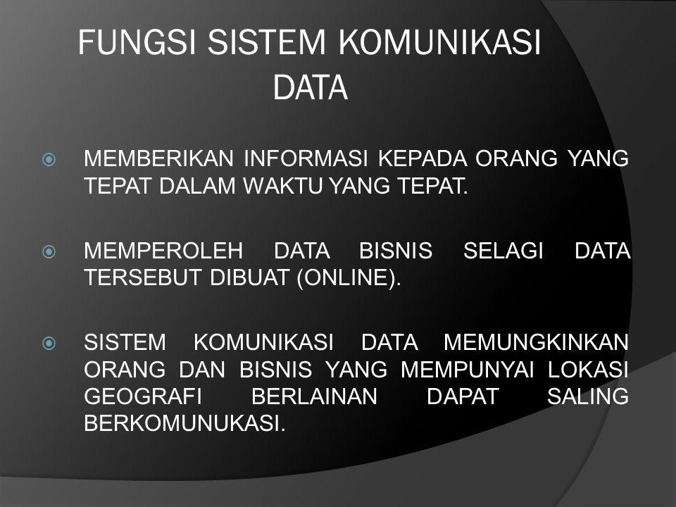 FUNGSI SISTEM KOMUNIKASI DATA  MEMBERIKAN INFORMASI KEPADA ORANG YANG TEPAT DALAM WAKTU YANG TEPAT.  MEMPEROLEH DATA BISNIS SELAGI DATA TERSEBUT DIB