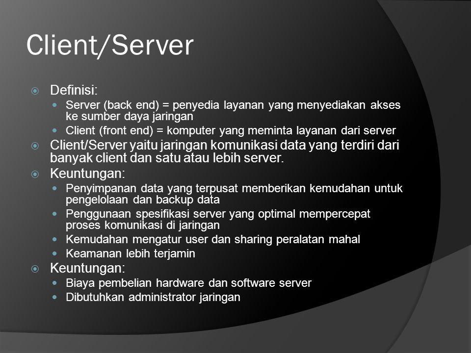 Client/Server  Definisi:  Server (back end) = penyedia layanan yang menyediakan akses ke sumber daya jaringan  Client (front end) = komputer yang m