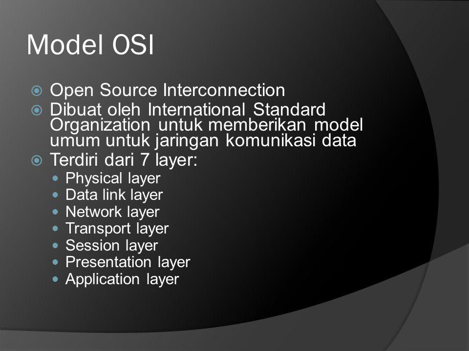 Model OSI  Open Source Interconnection  Dibuat oleh International Standard Organization untuk memberikan model umum untuk jaringan komunikasi data 