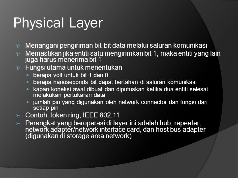 Physical Layer  Menangani pengiriman bit-bit data melalui saluran komunikasi  Memastikan jika entiti satu mengirimkan bit 1, maka entiti yang lain j