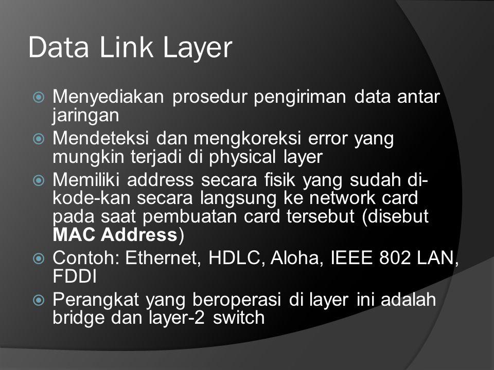 Data Link Layer  Menyediakan prosedur pengiriman data antar jaringan  Mendeteksi dan mengkoreksi error yang mungkin terjadi di physical layer  Memi