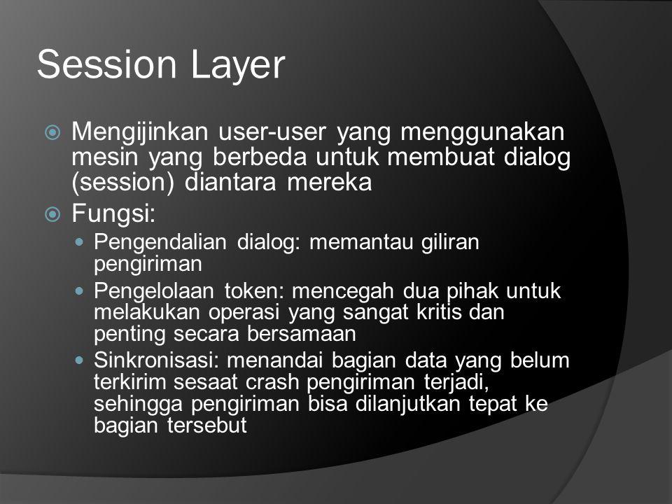 Session Layer  Mengijinkan user-user yang menggunakan mesin yang berbeda untuk membuat dialog (session) diantara mereka  Fungsi:  Pengendalian dial
