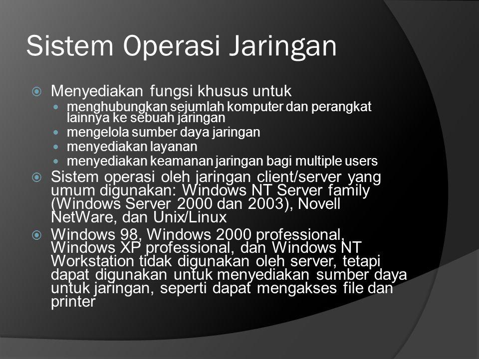 Sistem Operasi Jaringan  Menyediakan fungsi khusus untuk  menghubungkan sejumlah komputer dan perangkat lainnya ke sebuah jaringan  mengelola sumbe