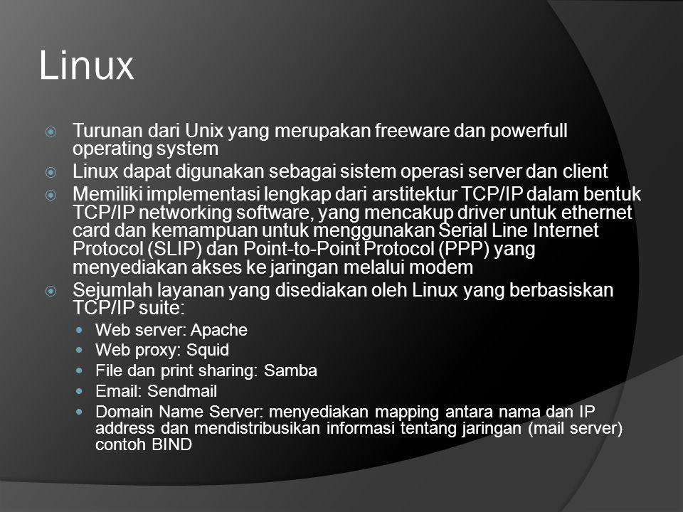 Linux  Turunan dari Unix yang merupakan freeware dan powerfull operating system  Linux dapat digunakan sebagai sistem operasi server dan client  Me