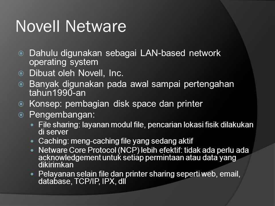 Novell Netware  Dahulu digunakan sebagai LAN-based network operating system  Dibuat oleh Novell, Inc.  Banyak digunakan pada awal sampai pertengaha