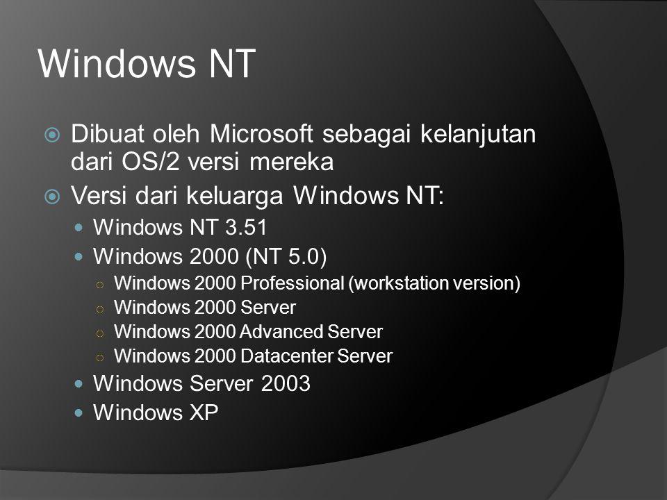 Windows NT  Dibuat oleh Microsoft sebagai kelanjutan dari OS/2 versi mereka  Versi dari keluarga Windows NT:  Windows NT 3.51  Windows 2000 (NT 5.