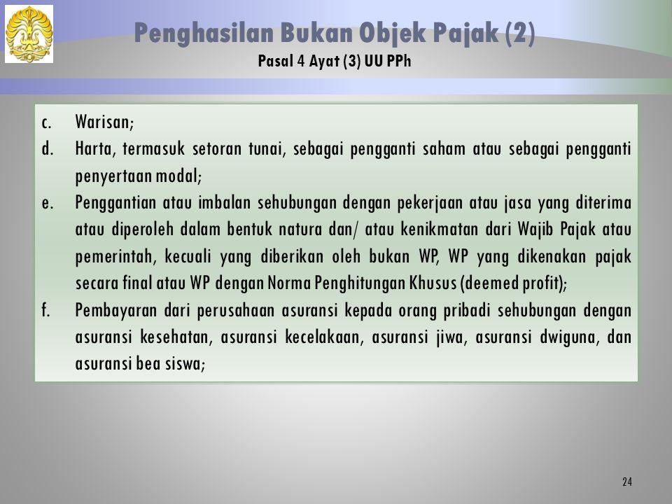 24 Penghasilan Bukan Objek Pajak (2) Pasal 4 Ayat (3) UU PPh c.Warisan; d.Harta, termasuk setoran tunai, sebagai pengganti saham atau sebagai penggant