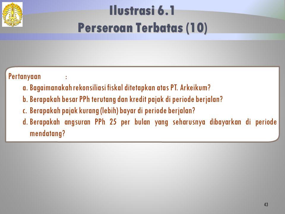 Pertanyaan: a.Bagaimanakah rekonsiliasi fiskal ditetapkan atas PT. Arkeikum? b.Berapakah besar PPh terutang dan kredit pajak di periode berjalan? c.Be