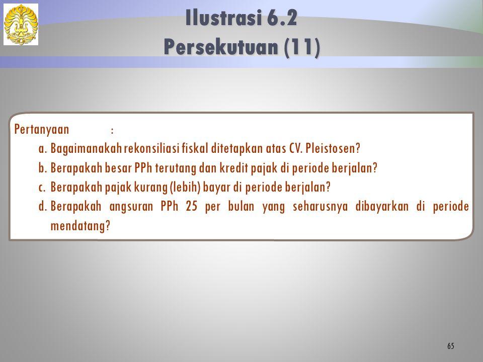 Pertanyaan: a.Bagaimanakah rekonsiliasi fiskal ditetapkan atas CV. Pleistosen? b.Berapakah besar PPh terutang dan kredit pajak di periode berjalan? c.