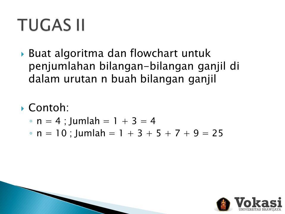 Buat algoritma dan flowchart untuk penjumlahan bilangan-bilangan ganjil di dalam urutan n buah bilangan ganjil  Contoh: ◦ n = 4 ; Jumlah = 1 + 3 =