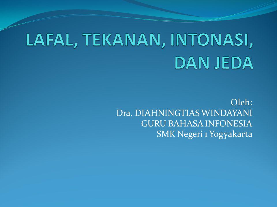 Oleh: Dra. DIAHNINGTIAS WINDAYANI GURU BAHASA INFONESIA SMK Negeri 1 Yogyakarta