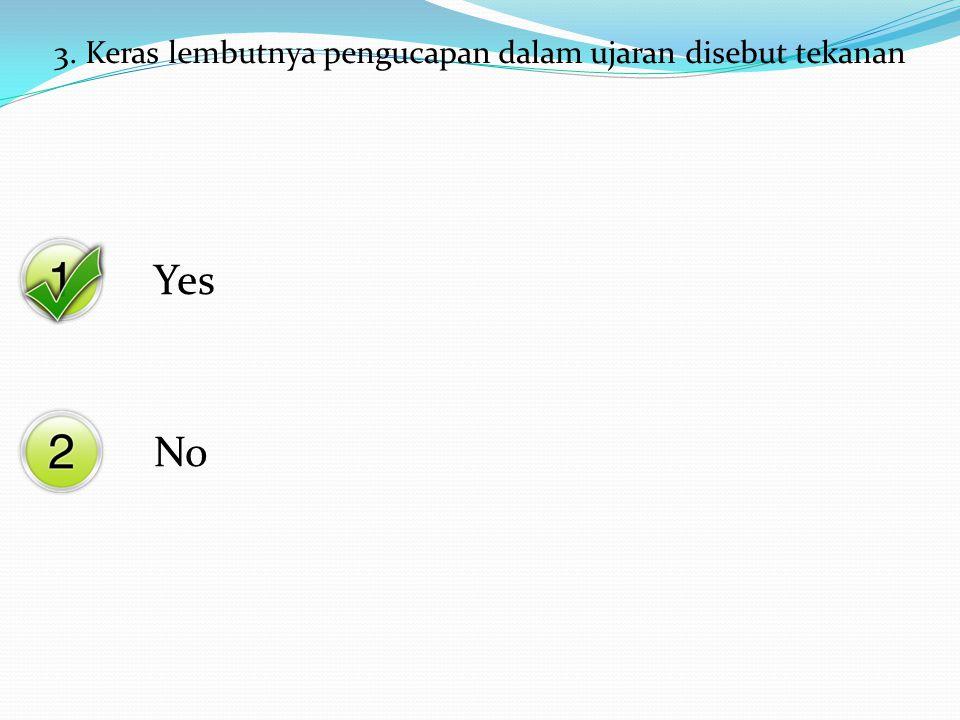 Yes No 3. Keras lembutnya pengucapan dalam ujaran disebut tekanan