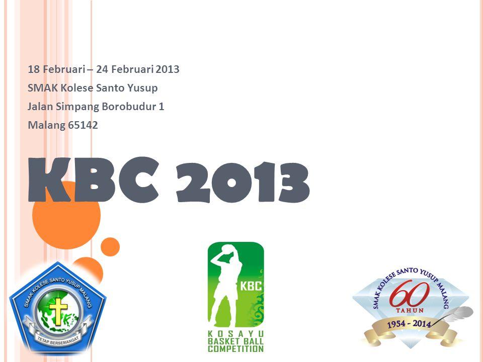 KBC 2013 18 Februari – 24 Februari 2013 SMAK Kolese Santo Yusup Jalan Simpang Borobudur 1 Malang 65142