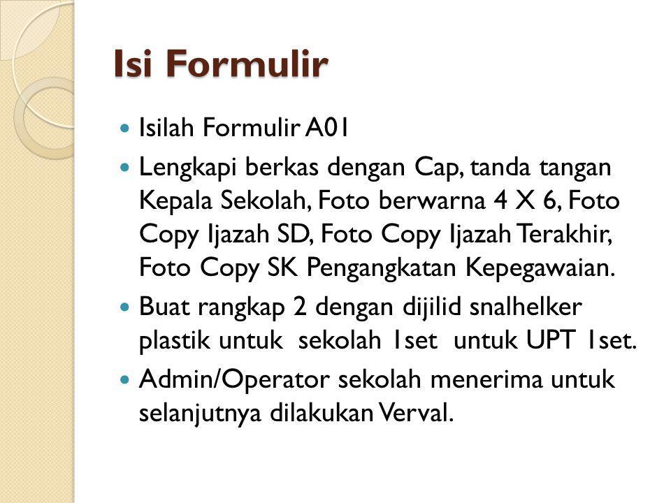 Isi Formulir  Isilah Formulir A01  Lengkapi berkas dengan Cap, tanda tangan Kepala Sekolah, Foto berwarna 4 X 6, Foto Copy Ijazah SD, Foto Copy Ijaz
