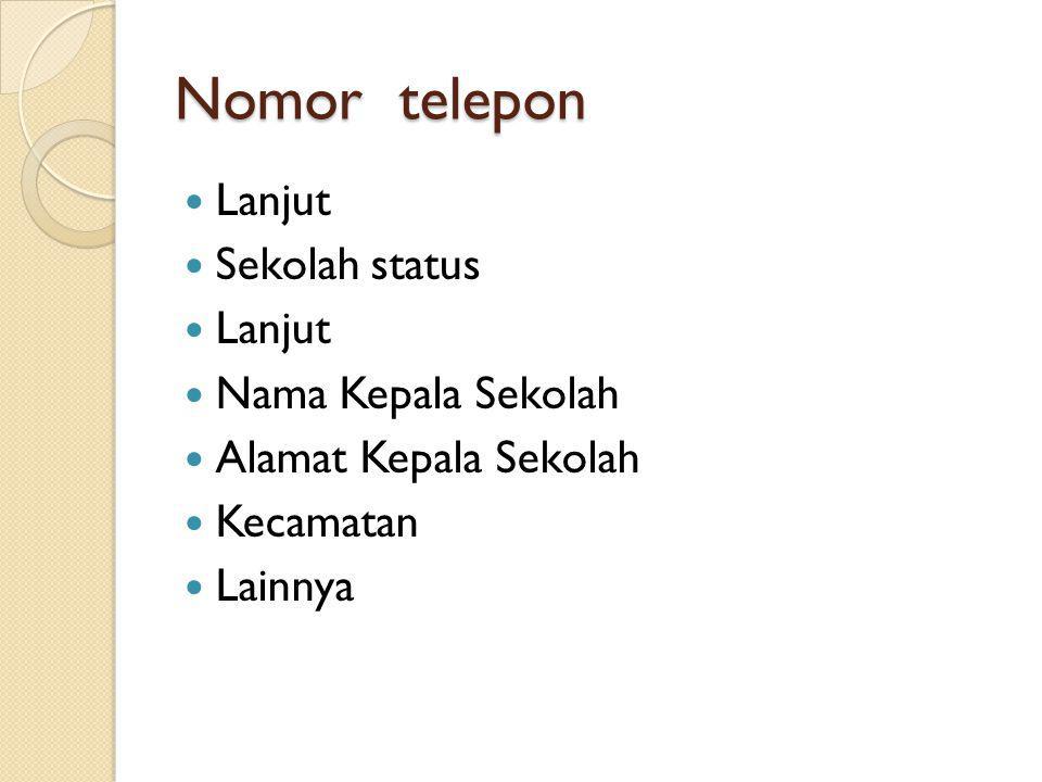 Nomor telepon  Lanjut  Sekolah status  Lanjut  Nama Kepala Sekolah  Alamat Kepala Sekolah  Kecamatan  Lainnya