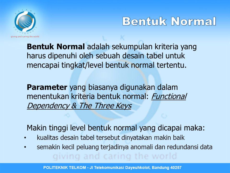 Kriteria 3 rd NF: • Memenuhi 2 nd NF • Tidak ada Transitive Functional Dependency A  B B  C C bergantung secara transitif terhadap A melalui B