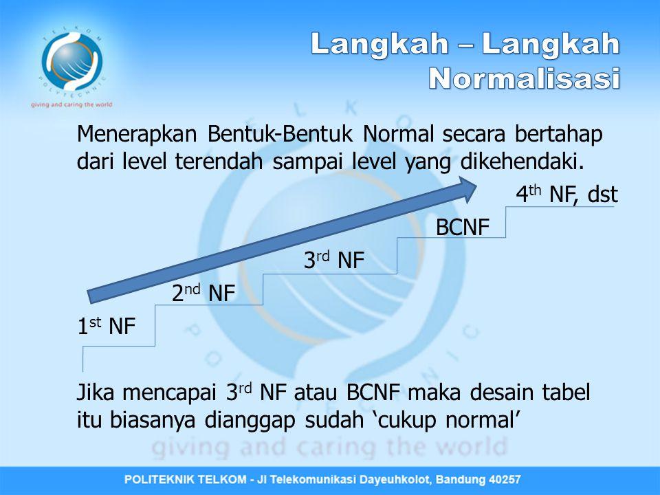 Solusi agar memenuhi 2 nd NF: Dekomposisi Tabel Tabel T-1-1 (terjadi Transitive FD): Dipecah (sesuai dengan FD1 dan FD2) menjadi 2 tabel berikut: Tabel T-1-1-1: Tabel T-1-1-2: NIMNama_MhsKd_Jur Nama_Jur NIMNama_MhsKd_JurNama_Jur