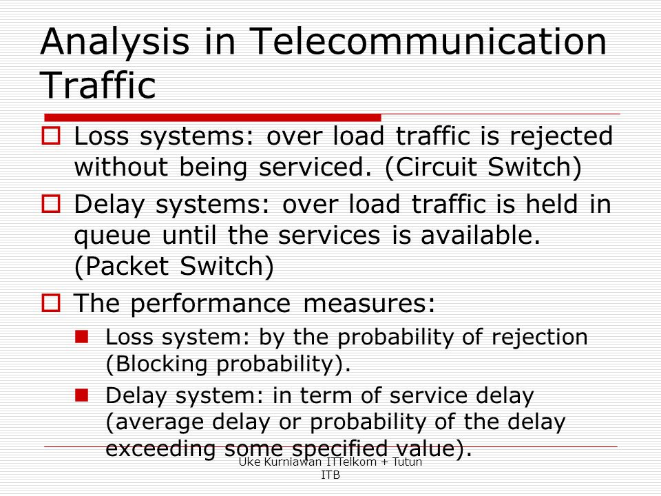 Unit of Traffic  Traffic intensity (or simply traffic) – average no. of calls in progress  Dimensionless quantity but has a unit called Erlang (E).