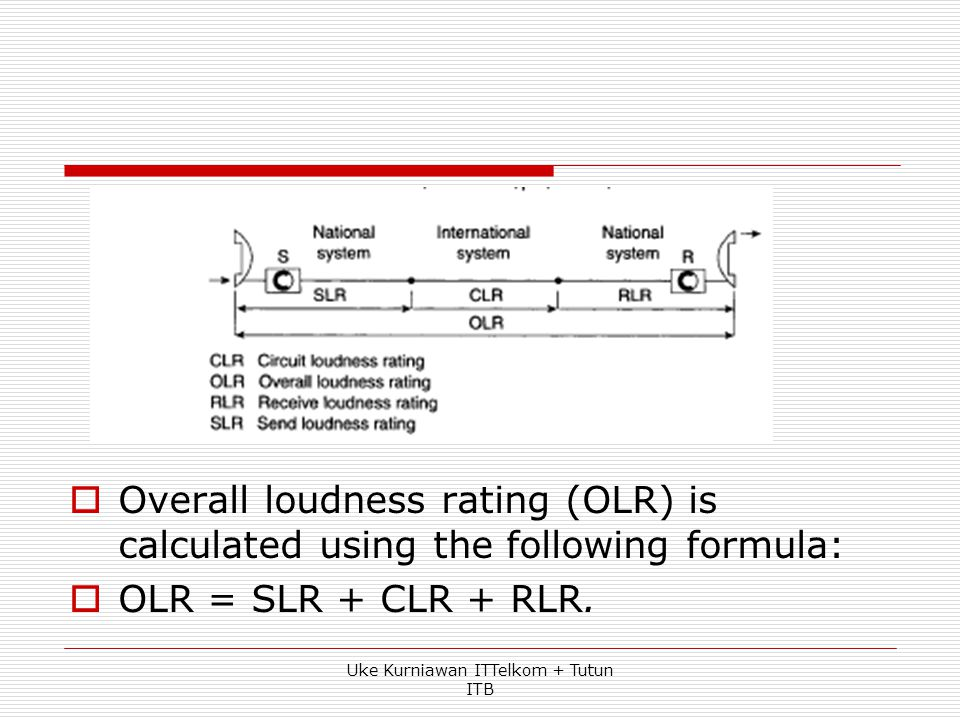 Loudness Rating  The concept of overall loudness rating (OLR) is very similar to the ORE concept used with reference equivalent. Uke Kurniawan ITTelk