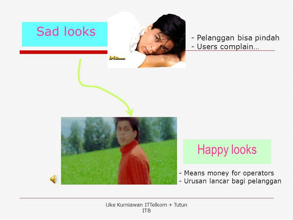 Sad looks Happy looks - Means money for operators - Urusan lancar bagi pelanggan - Pelanggan bisa pindah - Users complain… Uke Kurniawan ITTelkom + Tutun ITB