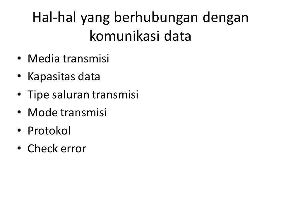 Hal-hal yang berhubungan dengan komunikasi data • Media transmisi • Kapasitas data • Tipe saluran transmisi • Mode transmisi • Protokol • Check error