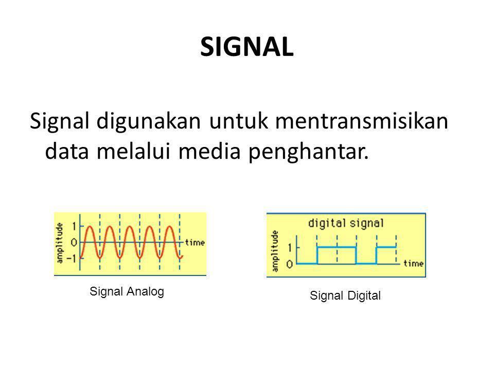 SIGNAL Signal digunakan untuk mentransmisikan data melalui media penghantar.