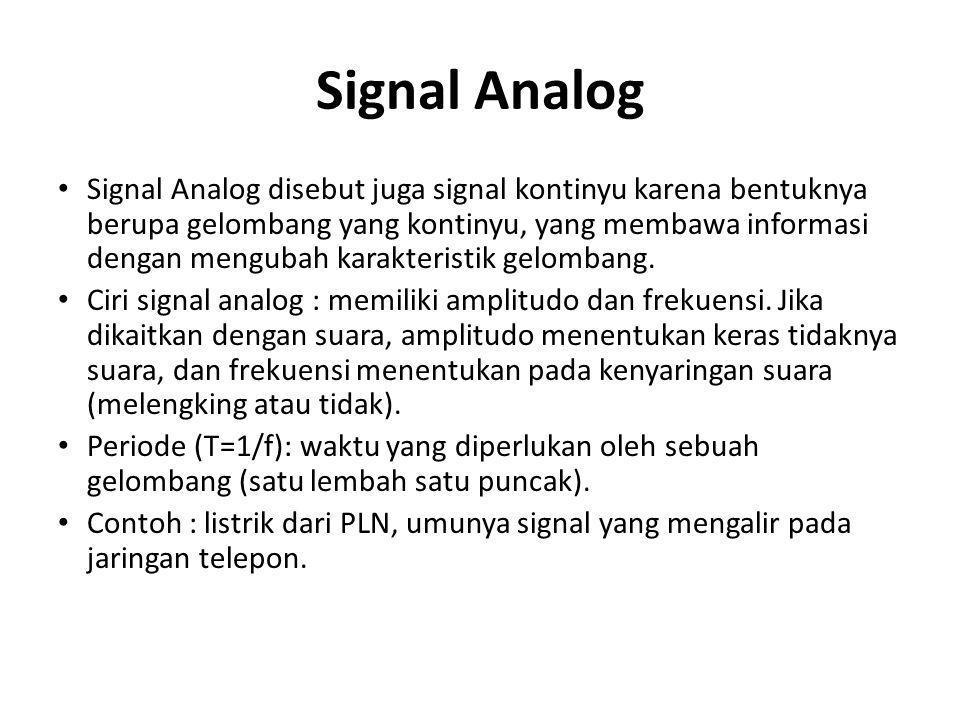 Signal Analog • Signal Analog disebut juga signal kontinyu karena bentuknya berupa gelombang yang kontinyu, yang membawa informasi dengan mengubah karakteristik gelombang.