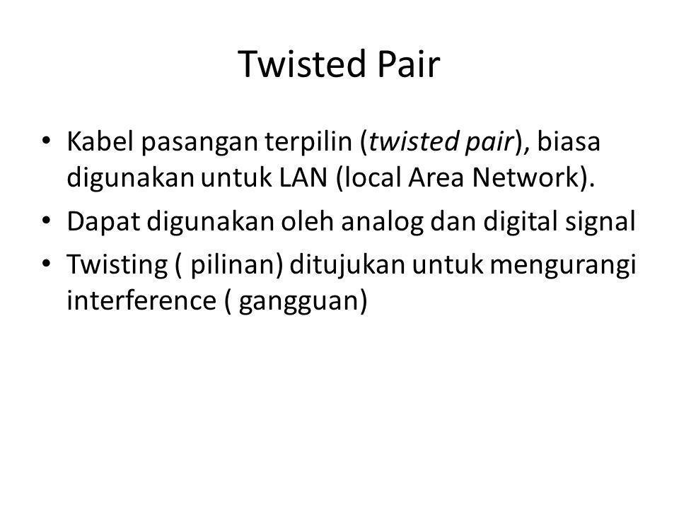 • Kabel pasangan terpilin (twisted pair), biasa digunakan untuk LAN (local Area Network).