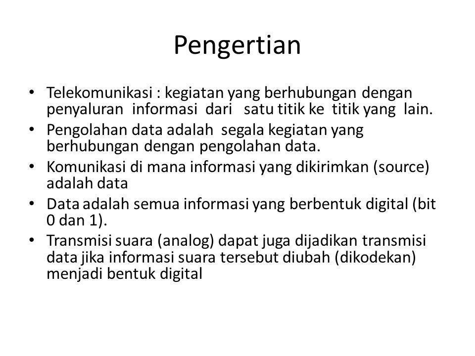 Pengertian • Telekomunikasi : kegiatan yang berhubungan dengan penyaluran informasi dari satu titik ke titik yang lain.
