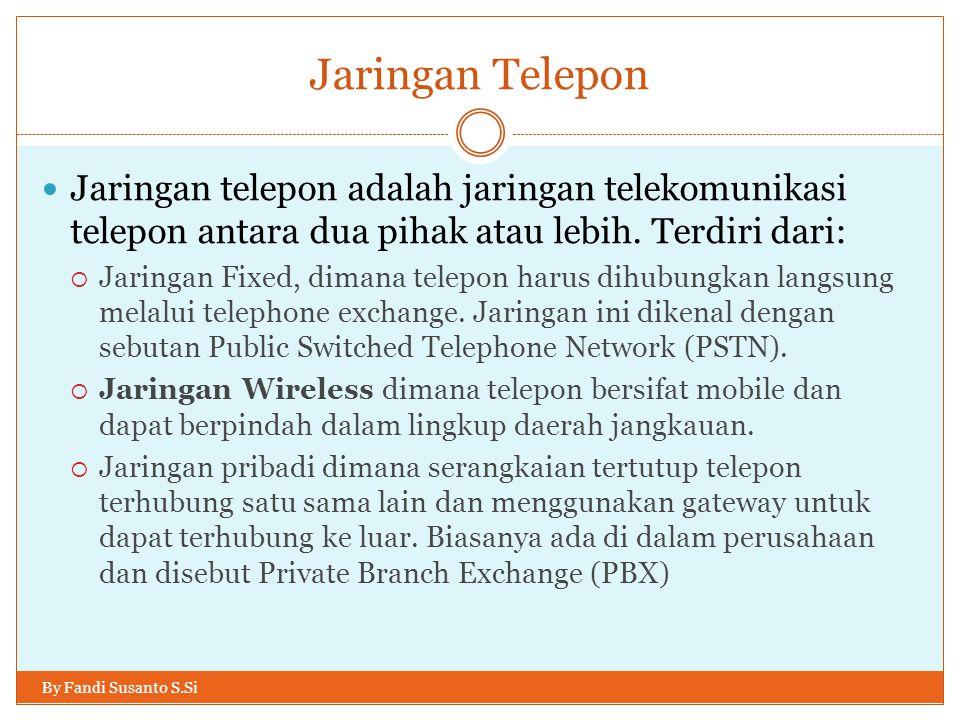 Jaringan Telepon By Fandi Susanto S.Si  Jaringan telepon adalah jaringan telekomunikasi telepon antara dua pihak atau lebih. Terdiri dari:  Jaringan