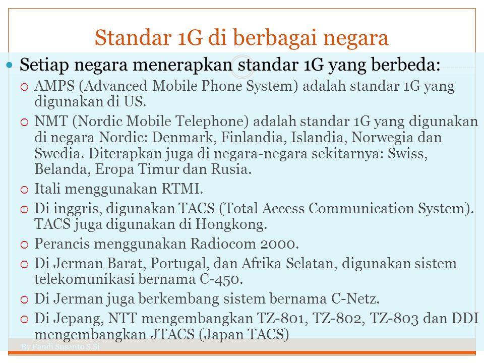 Standar 1G di berbagai negara By Fandi Susanto S.Si  Setiap negara menerapkan standar 1G yang berbeda:  AMPS (Advanced Mobile Phone System) adalah s