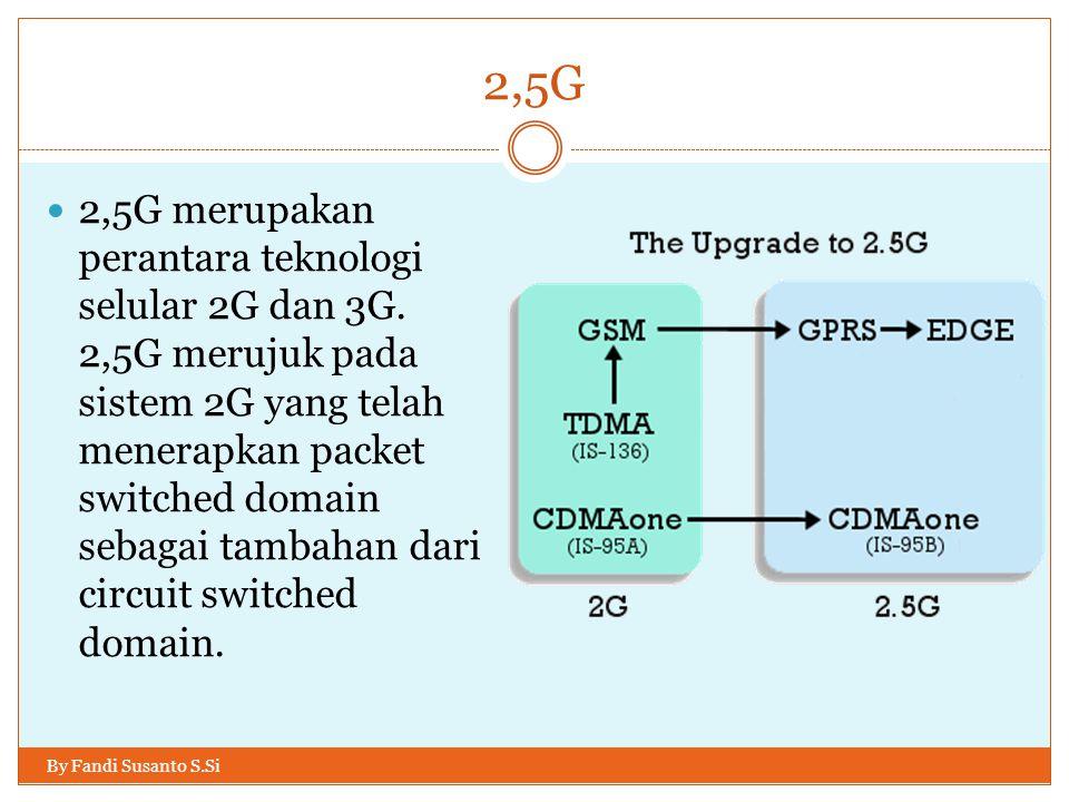 2,5G By Fandi Susanto S.Si  2,5G merupakan perantara teknologi selular 2G dan 3G. 2,5G merujuk pada sistem 2G yang telah menerapkan packet switched d