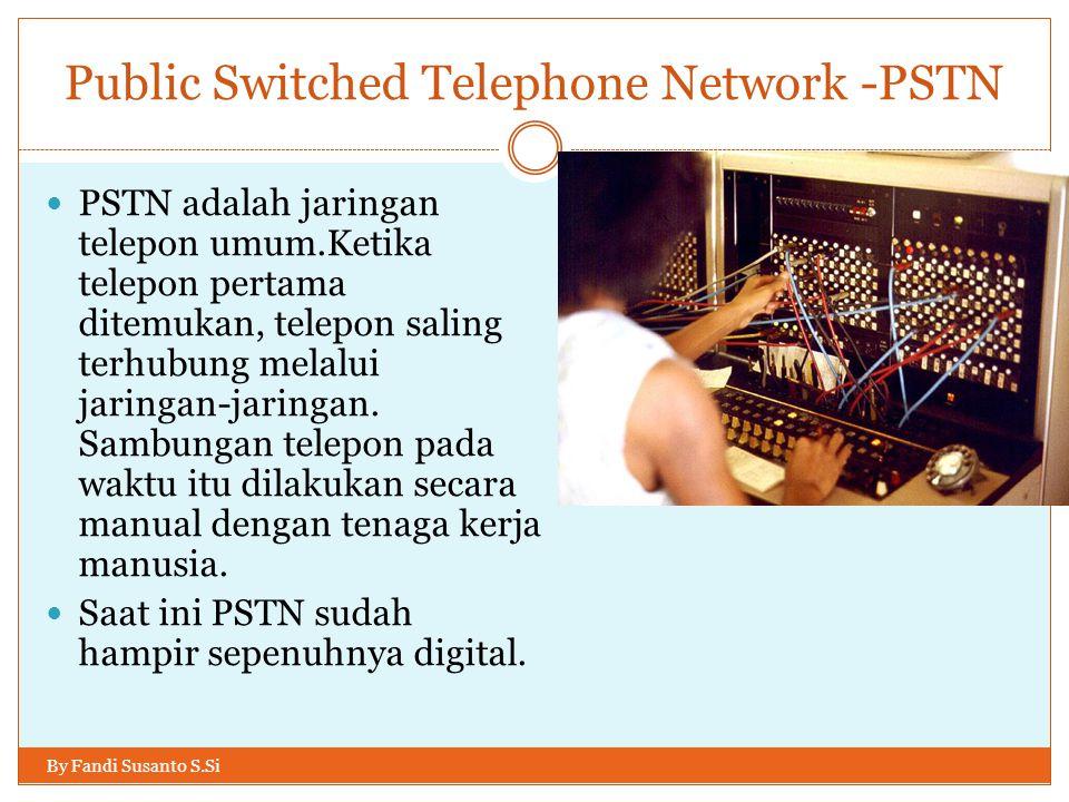 Public Switched Telephone Network -PSTN By Fandi Susanto S.Si  PSTN adalah jaringan telepon umum.Ketika telepon pertama ditemukan, telepon saling ter