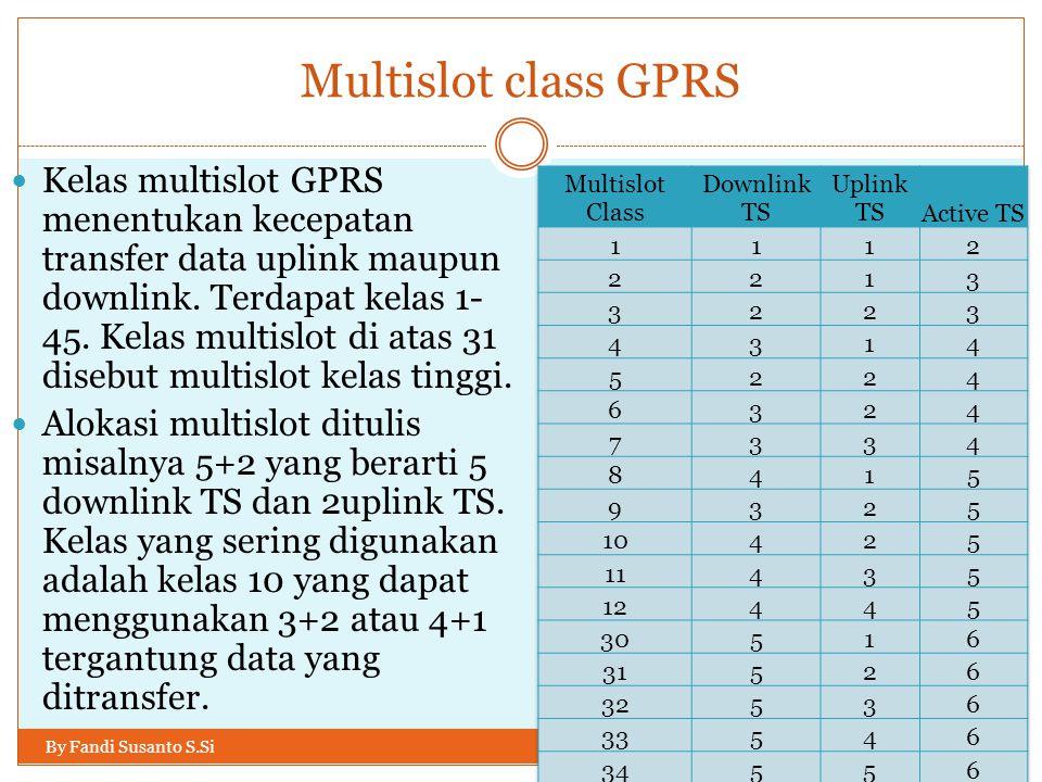 Multislot class GPRS By Fandi Susanto S.Si  Kelas multislot GPRS menentukan kecepatan transfer data uplink maupun downlink. Terdapat kelas 1- 45. Kel